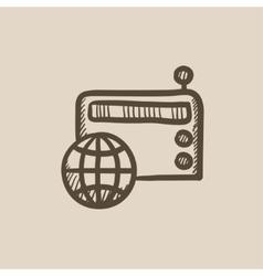 Retro radio sketch icon vector