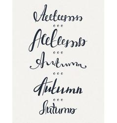 set of five words autumn lettering calligraphyt vector image