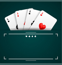 set of four aces playing cards suits vector image