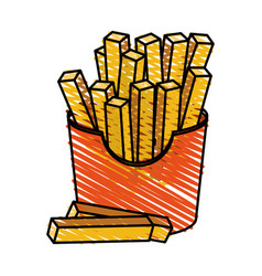 color crayon stripe cartoon box with french fries vector image vector image