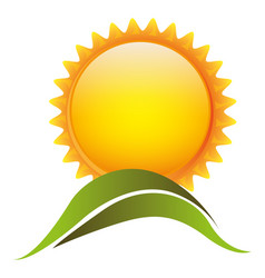 color sun with mountain icon vector image vector image