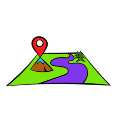 map with pin pointers icon icon cartoon vector image vector image