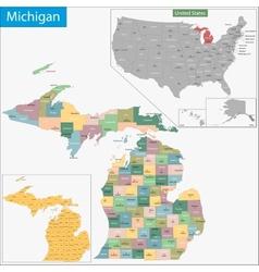 Michigan map vector image