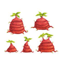 Cartoon fantasy alien monster plants set vector