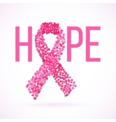 Hope message in pink with cancer awareness ribbon vector image