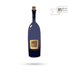 Sketch of Wine Bottle Isolated On The White vector image