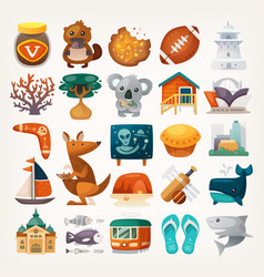 stickers with sights and famous elements of vector image vector image