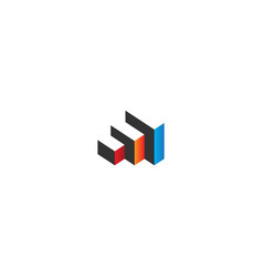 3d cube colored architecture logo vector image