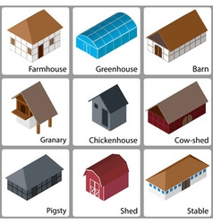 3D Farm Buildings Icons vector