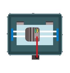 3d printer top view concept engineering industry vector
