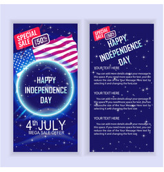 4th july usa independence day sale flyer design vector