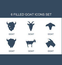 6 goat icons vector
