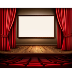 A theater stage with a red curtain seats and a vector image