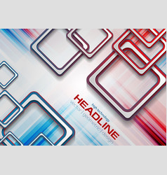 abstract blue red squares tech grunge background vector image