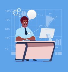 African american business man sitting desk working vector