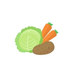Assortment of vegetable icon cartoon style vector image