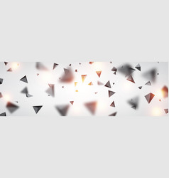Banner with gray 3d trigons vector
