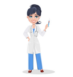 Beautiful cartoon character medic holding syringe vector