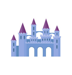 beautiful purple castle with towers and conical vector image