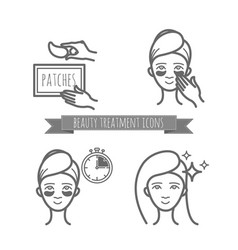 beauty treatment icons application of patches vector image