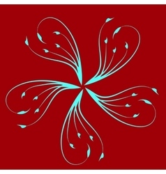 Blue petals on a bright red background-01 vector