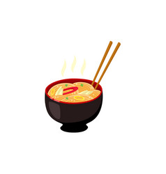 bowl with hot ready-to-eat ramen noodles with vector image