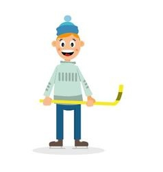 boy plays hockey vector image