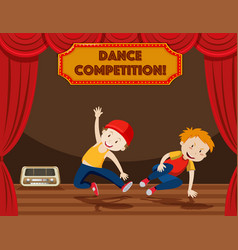 Boys performing street dance on stage vector