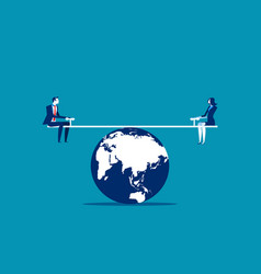 Business person balanced on seesaw over globe vector