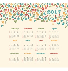 Calendar 2017 year with Christmas pattern vector