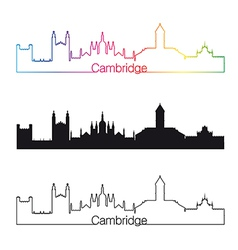 Cambridge skyline linear style with rainbow vector