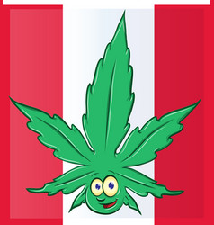 canadian flag with marijuana cartoon vector image