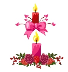Candles decorated with buds of roses and berries vector image
