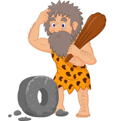 Cartoon caveman with stone wheel vector