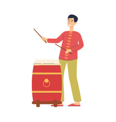 Cartoon man playing red chinese drum in vector