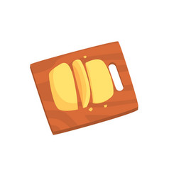 Cheese served on wooden cutting board cartoon vector