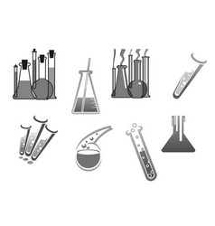 Chemistry icons chemical tubes tests vector
