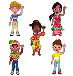 Children in world vector