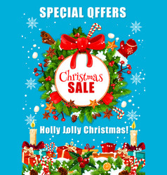 christmas sale poster for winter holidays offer vector image