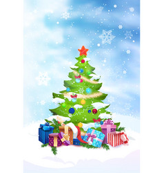 christmas tree decorated with colorful balls vector image