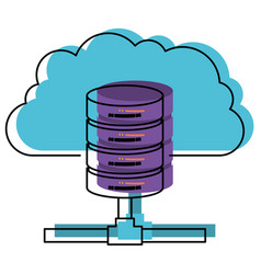 Cloud and network server storage in watercolor vector