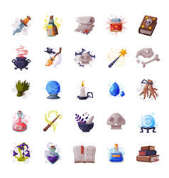 collection occult magic objects for mystic vector image