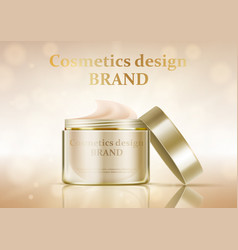 cosmetic jar with cream on a gold background vector image