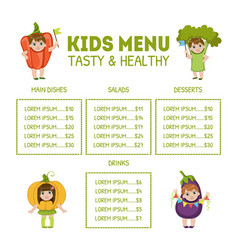 Cute colorful kids meal menu with cute children vector