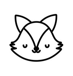 Cute fox face toy cartoon character icon line vector