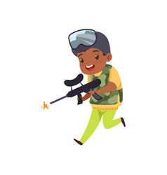 Cute little african american boy playing paintball vector