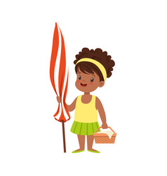 Cute little girl standing with beach umbrella and vector