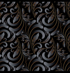 dark black 3d vintage floral seamless pattern vector image
