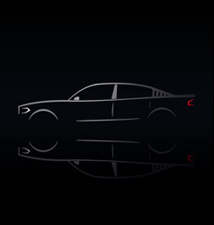 Design of a silver car on a black background vector