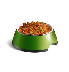 Dog bowl dry food composition vector